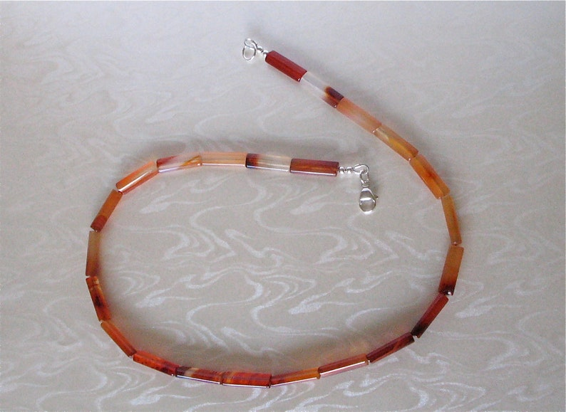 Carnelian Necklace  6mm x 18mm Carnelian Tube Beads image 0