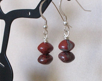 Red Jasper and Sterling Silver Dangle Earrings - Short Dangle Earrings - 1 1/4 inches Long
