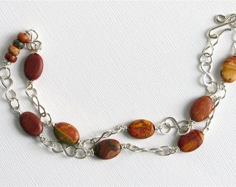 Red Creek Jasper and Sterling Silver Wire Wrapped Necklace
