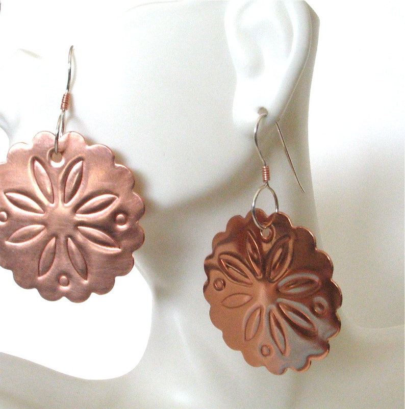Southwest Style Embossed Copper Earrings  Copper Concho image 0