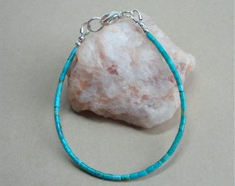 Kingman Turquoise Heishi Bracelet - 7 1/4 inches Long - Tiny 2mm Heishi - Southwestern Jewelry - Skinny Bracelet Perfect for Stacking
