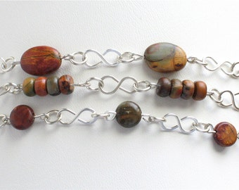 Set of Three Wire Wrapped Stacking Bracelets Sterling Silver and Red Creek Jasper