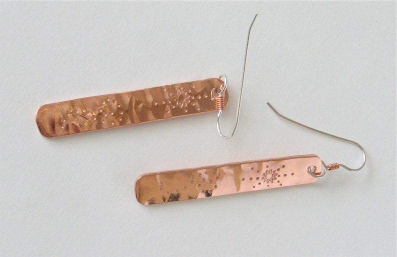 Hammered and Stamped Copper Earrings  Long Copper Bars image 0
