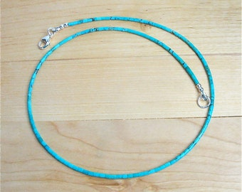 "Blue Kingman Turquoise Heishi Necklace - Tiny 2mm Heishi - 19"" Necklace - Classic Southwest Style Turquoise Necklace for Men and Women"