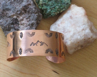 Hand Stamped Copper Cuff - Southwest Style Mountain Scene - Wide Copper Cuff Bracelet - Suitable for Men and Women