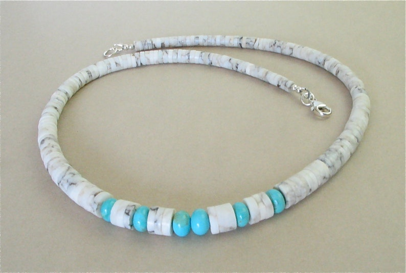 New Mexico Alabaster Heishi Necklace with Kingman Turquoise image 0