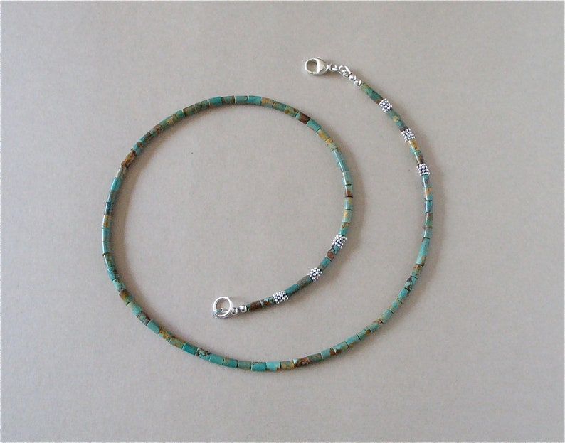 Turquoise Heishi Necklace  Campo Frio 3mm Heishi Beads  image 0