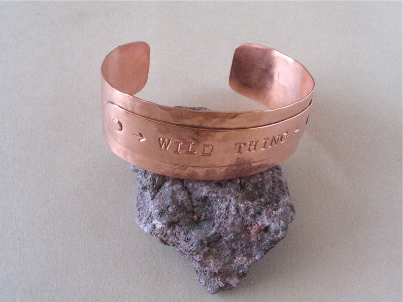 Wide Hammered and Stamped Copper Cuff  Wild Thing Copper image 0