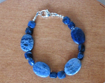 """Blue Sodalite Chunky Bracelet - Boho Hippie - Southwest Bracelet - Suitable for Men and Women - 8"""""""