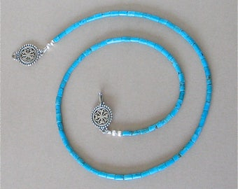 "Nacozari Turquoise Heishi Necklace - Mexican Turquoise 19 1/2"" Necklace - Tiny 2mm Blue Blue Turquoise Heishi - Fancy Sterling Silver Clasp"