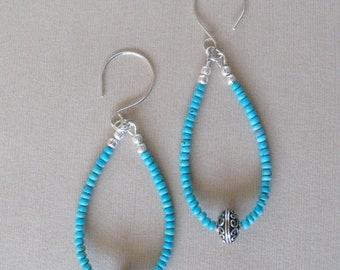 """Turquoise Loop Dangle Earrings - Nacozari Turquoise with Large Sterling Silver Bead Focal - Handmade Hoop Style Earwries - Long 3 1/2"""""""