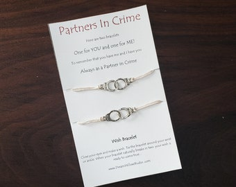 Partners in Crime Wish Bracelet Best Friend BFF You're My Person  Bracelet Matching Bracelets Handcuff Bracelet Matching Wish Bracelets