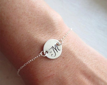SET OF 7 - Initial Sterling Silver Bracelets, Letter Charm, Bridesmaid Gift, Bride, Wedding Gift