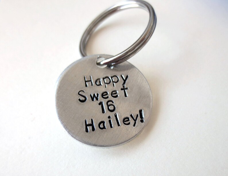 Wedding Date- Bridal Party Hand Stamped Personalized Custom Keychain  Key Fob Name Date Phrase Quote Gift Under 25 Sweet 16
