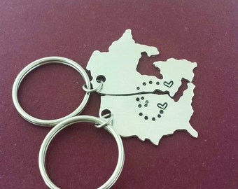Long Distance Love Necklace Keychain USA State Canada Lovers Relationship Friendship Miss Home Map Personalized Anniversary Gift Wedding