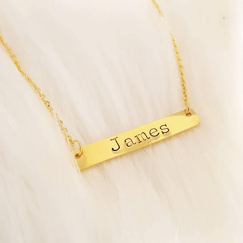 Name Bar Necklace Rose Gold Name Plate Bar Necklace Custom Name Necklace Monogram Necklace Mother/'s Day New Mommy