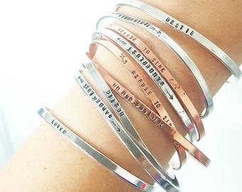 Personalized Cuff Bracelet Handstamped Custom Bracelet Best Friend Gift Bestie Wanderlust Loved Follow Your Heart love you to the moon