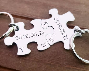 His and Hers Personalized Puzzle Piece Keychain Couple 2 pieces Hand Stamped Wedding Date Bridal Party Gift Under 25 anniversary key chains