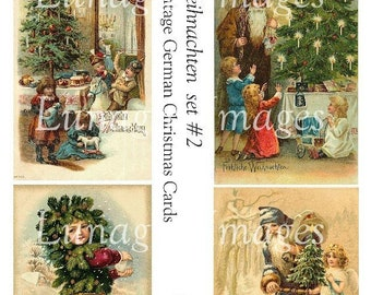 Vintage GERMAN CHRISTMAS cards, digital collage sheet, Christmas tree children angels Santa antique holiday postcards, Art Ephemera DOWNLOAD