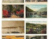 Retro SCENIC POSTCARDS digital collage sheet, vintage photos vacation travel backgrounds, 1940s 1950s Americana landscapes ephemera DOWNLOAD