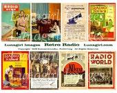 RETRO RADIO digital collage sheet, vintage magazines, 1940s 1950s women men, altered art images, 1920s 1930s Victrola ads, ephemera DOWNLOAD