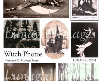 WITCHES PHOTOS digital collage sheet, Vintage Halloween images, hats moon women girls spooky antique costumes, ephemera altered art DOWNLOAD