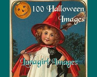 100 HALLOWEEN vintage images DOWNLOAD Victorian postcards, witches pumpkins children women black cats owls bats, crafts digital art EPHEMERA