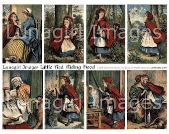 LITTLE RED Riding Hood digital collage sheet, vintage images, Victorian storybook illustrations, fairy tales girls antique ephemera DOWNLOAD