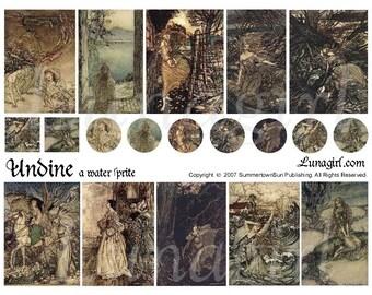 MERMAID digital collage sheet, Victorian fairy tales, Rackham art, Undine illustrations, circles charms pendants, Vintage Ephemera DOWNLOAD