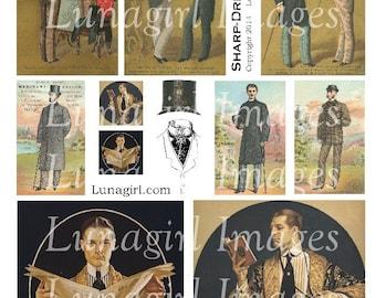 VINTAGE MEN digital collage sheet Victorian gentlemen 1920s dapper fashion tophat antique art Dad Fathers Day card vintage ephemera DOWNLOAD