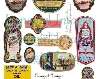 COSMETICS LABELS digital collage sheet, Vintage ephemera, Victorian beauty products antique soaps tags altered art printable images DOWNLOAD