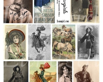 COWGIRLS digital collage sheet, vintage photos western women, rodeo riders HORSES, Americana altered art images printables ephemera DOWNLOAD