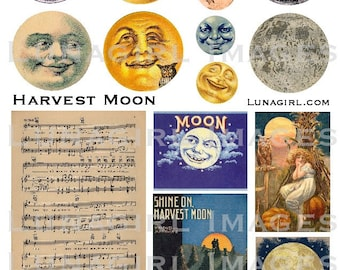 HARVEST MOON faces digital collage sheet, vintage images, sheet music song autumn fall Victorian antique printables cards, Ephemera DOWNLOAD