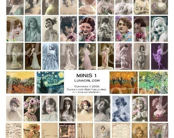 MINIS digital collage sheet, VINTAGE images, jewelry charms small tiles, Victorian women girls flappers photos altered art Ephemera DOWNLOAD