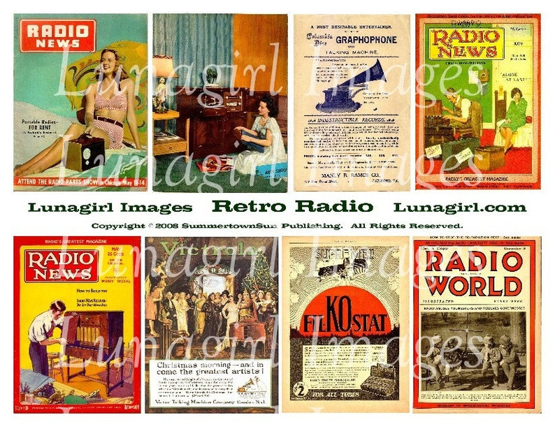RETRO RADIO digital collage sheet, vintage magazines, 1940s 1950s women  men, altered art images, 1920s 1930s Victrola ads, ephemera DOWNLOAD