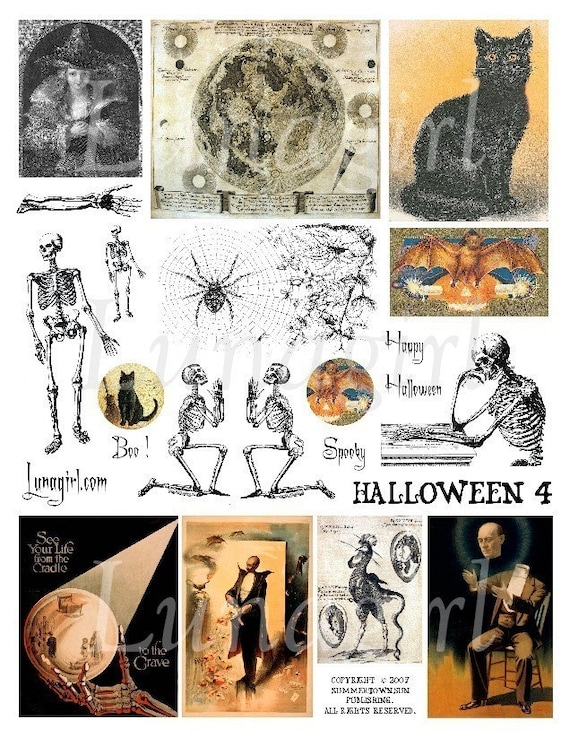 Halloween 1 inch squares Black Cats and moon digital collage sheet printable for instant download pendant images
