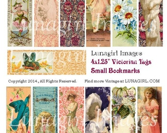 Victorian BOOKMARKS TAGS digital collage sheet, vintage art images cards pendants, antique flowers fairies women printable ephemera DOWNLOAD
