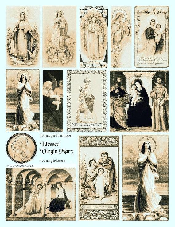 Feuille De Collage Numérique Vierge Marie Sépia Cartes Saintes Vintage Art Religieux Victorien Cartes Antique Madonna Peintures Images éphémères