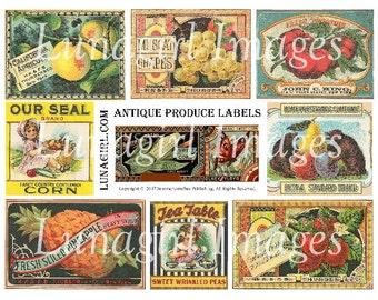 Antique PRODUCE LABELS digital collage sheet, Vintage Crate Labels, Victorian images fruit garden, altered art printable ephemera DOWNLOAD