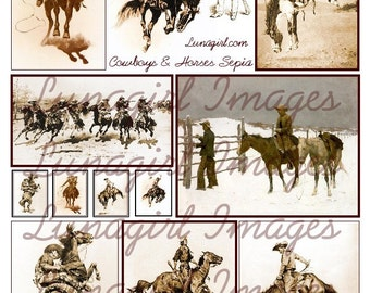 Vintage COWBOYS on HORSES, digital collage sheet, Antique Art pictures American Western Rodeo Broncos images, Sepia Brown, Ephemera DOWNLOAD
