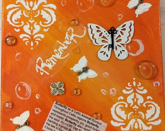 White butterfly painting, orange ombre, mixed media, acrylics, original, wood cutout, keys, modeling paste, loved one, child, spirit, paint