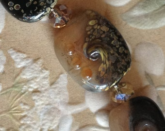 Nude black and raku tab lampwork beads set of five