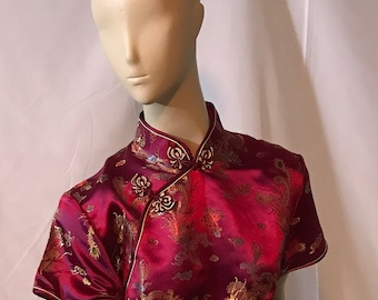 Cheongsam - Qipao style dress - short sleeve - long with side slit on each side - Burgundy with dragons