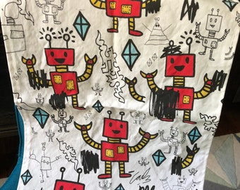 Pop Art Robot Tea Towel