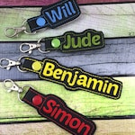 Personalized Name Tag -back to school- customized name Keyfob - embroidered keychain - gifts under 20 -backpack tag