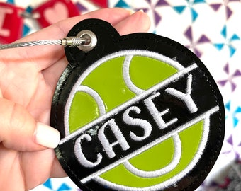 Tennis Bag Tag - Team Sports Gift - High School athletes - Backpack Tag - School Spirit - Personalized