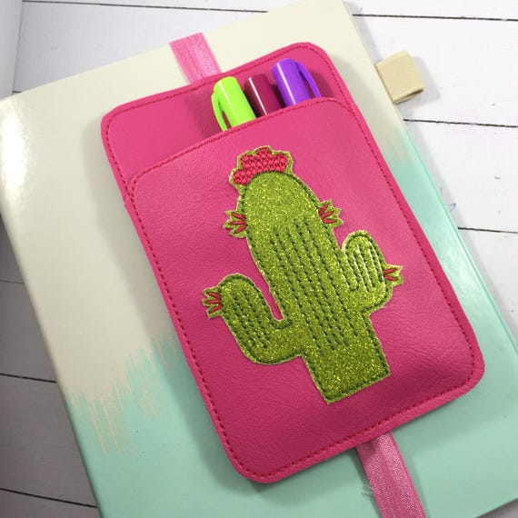 Cactus Pen Holder planner band -planner accessories - pen pocket holder  -best gifts for her -fits happy, erin condren, mambi, bullet journal