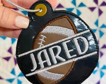 Football Bag Tag - Team Sports Gift - High School athletes - Backpack Tag - School Spirit - Personalized