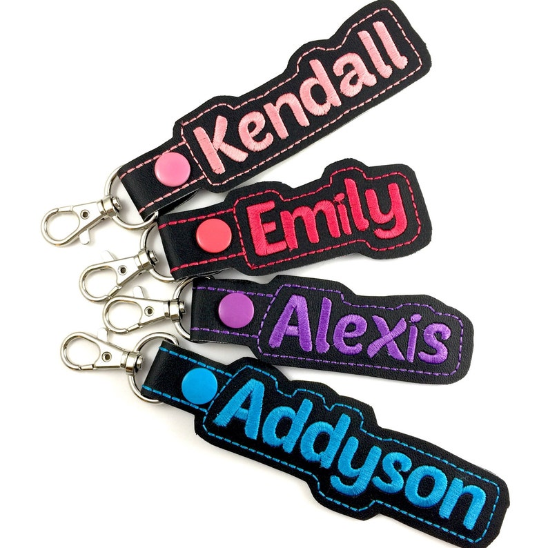 4e5acfa69414 Personalized Name Tag - customized name Keyfob - embroidered keychain -  best gifts under 20 -backpack tag -back to school- school supplies