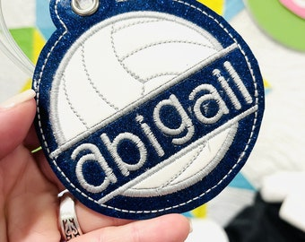 Volleyball Bag Tag - Team Sports Gift - High School athletes - Backpack Tag - School Spirit - Personalized